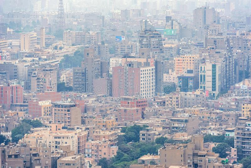 11/18/2018 Cairo, Egypt, panoramic view of the central and business part of the city from the observation deck at the highest towe. 18/11/2018 Cairo, Egypt royalty free stock photo