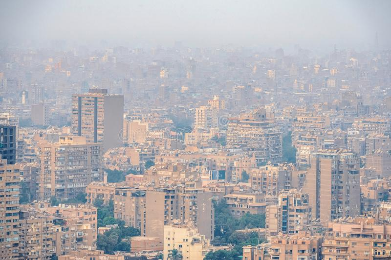 11/18/2018 Cairo, Egypt, panoramic view of the central and business part of the city from the observation deck at the highest towe. 18/11/2018 Cairo, Egypt royalty free stock image