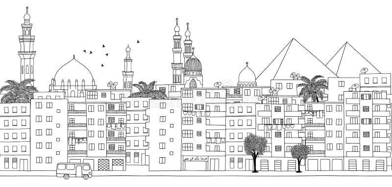Cairo, Egypt - seamless banner. Of Cairo's skyline, hand drawn black and white illustration stock illustration