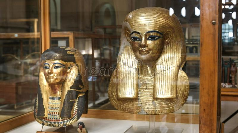 CAIRO, EGYPT- SEPTEMBER, 26, 2016: gilded statue of queen tuya in cairo, egypt royalty free stock photography