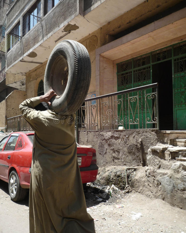 Cairo garbage collector stock photo