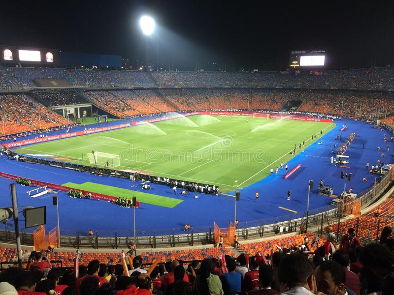 Cairo International Stadium. African Cup match South Africa 1 vs 2 Nigeria royalty free stock photography