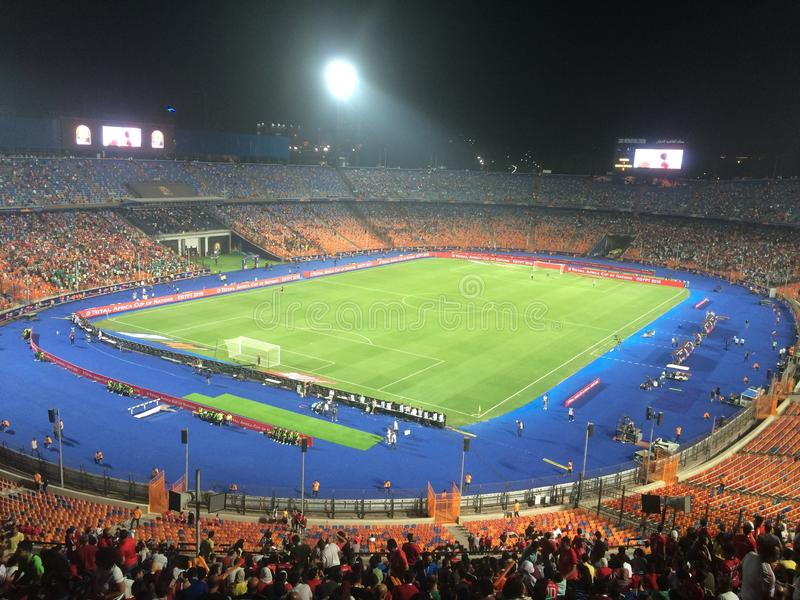 Cairo International Stadium. African Cup match South Africa 1 vs 2 Nigeria royalty free stock images