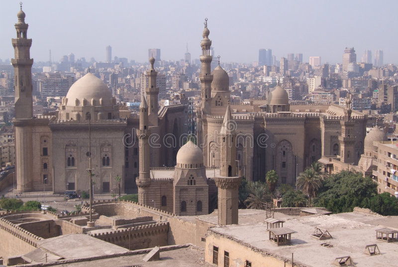Cairo Mosques. Mosque of Sultan Hassan and Rifai Mosque, Cairo royalty free stock photos