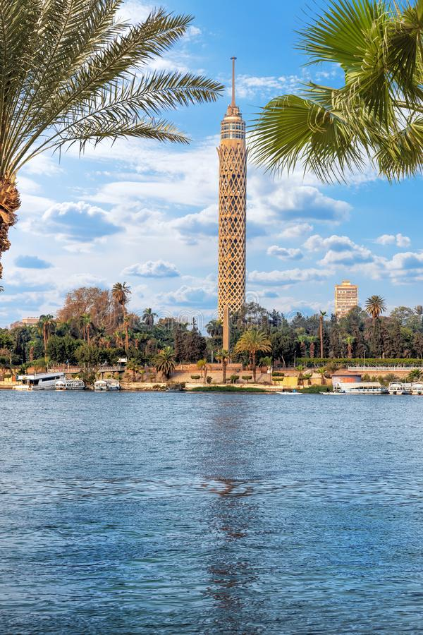 The Cairo Tower and the Nile view, Egypt.  royalty free stock photo