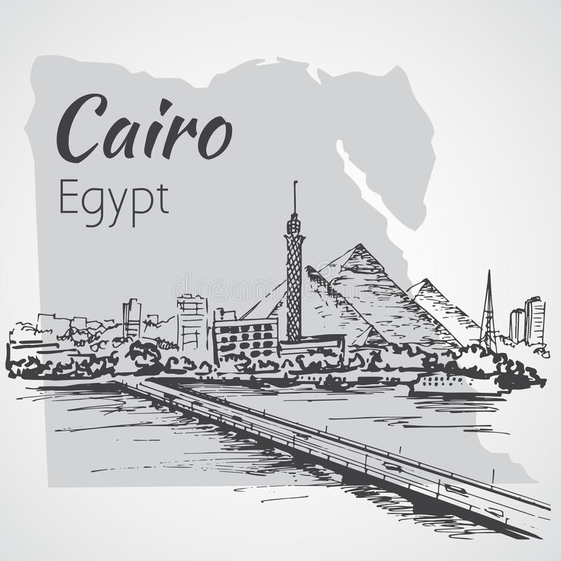 Cairo tower on the river Nile - skyline, Egypt. Sketch. Ciro tower on the river Nile - skyline, Egypt. Sketch. Isolated on white background royalty free illustration