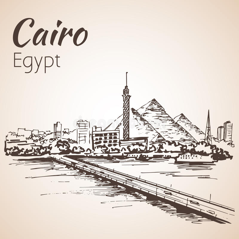 Cairo tower on the river Nile - skyline, Egypt. Sketch. Isolated on white background stock illustration