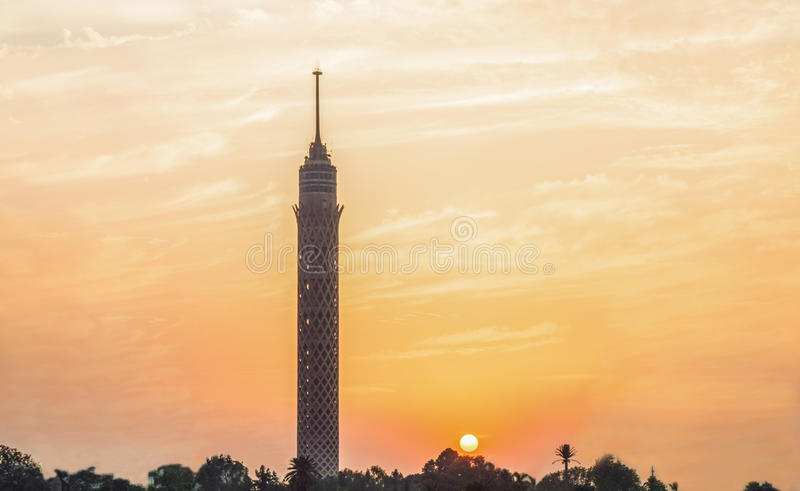 Cairo tower. Tourists usually come to ride a boat in the Nile during the golden hour stock photography