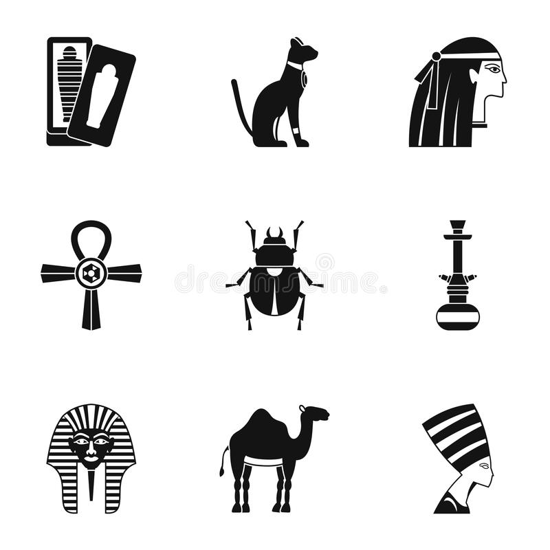 Cairo travel icons set, simple style royalty free illustration