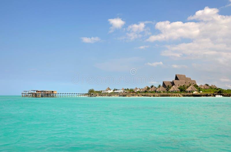 Cais com recurso luxuoso no console de Zanzibar fotos de stock royalty free