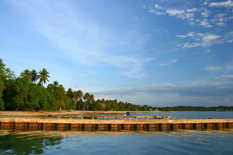 Cais da praia de Boqueron em Puerto Rico fotografia de stock