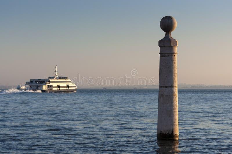 Cais das Colunas的细节在里斯本,葡萄牙  免版税库存图片