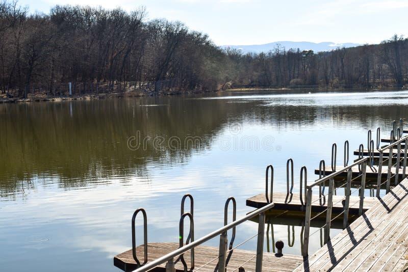 Cais de madeira do molhe do pontão para o porto da amarração do barco no lago do parque fotografia de stock royalty free
