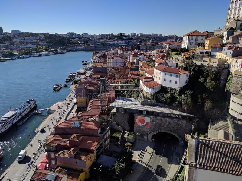 Cais DE Ribeira van Ponte Luis I Brug royalty-vrije stock foto