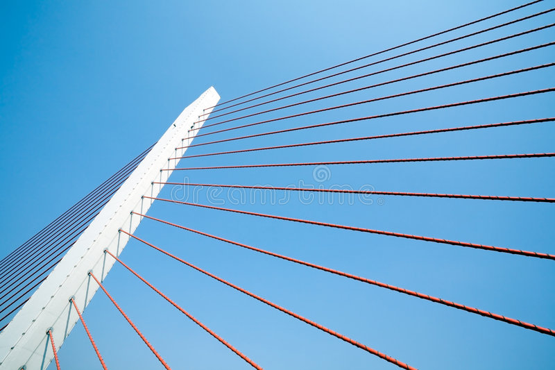 Cais de uma ponte de suspensão foto de stock
