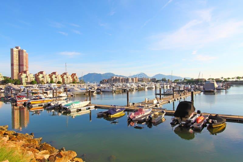Cais do iate de Gold Coast com muitos barcos luxuosos fotografia de stock