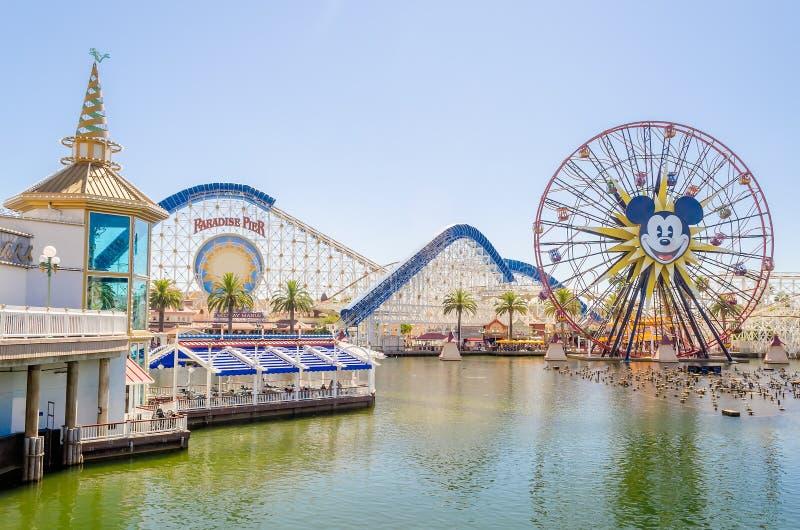 Cais do paraíso no parque da aventura de Disney Califórnia, Anaheim, Cali foto de stock