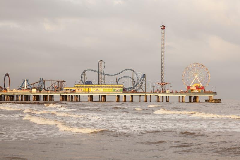 Cais do prazer da ilha de Galveston fotos de stock royalty free