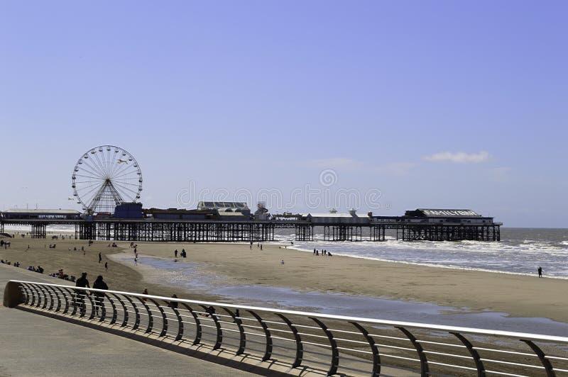 Cais e praia centrais de Blackpool fotos de stock