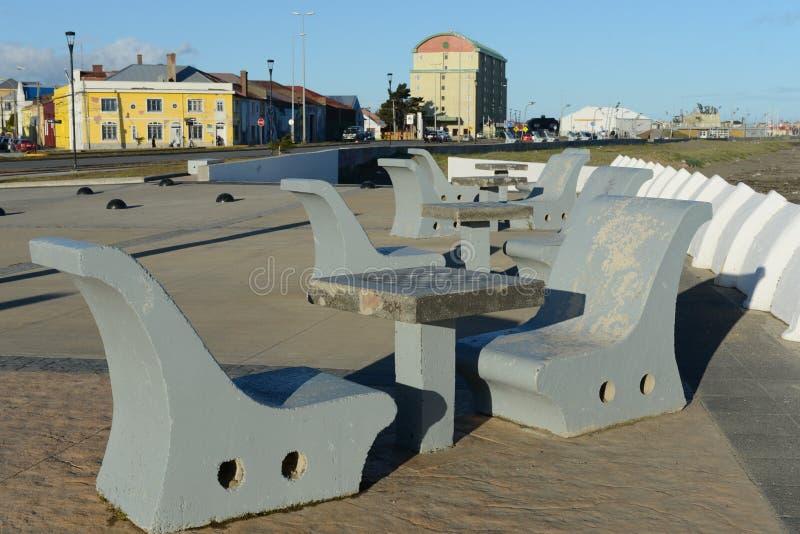 Cais na cidade chilena de arenas de Punta fotografia de stock