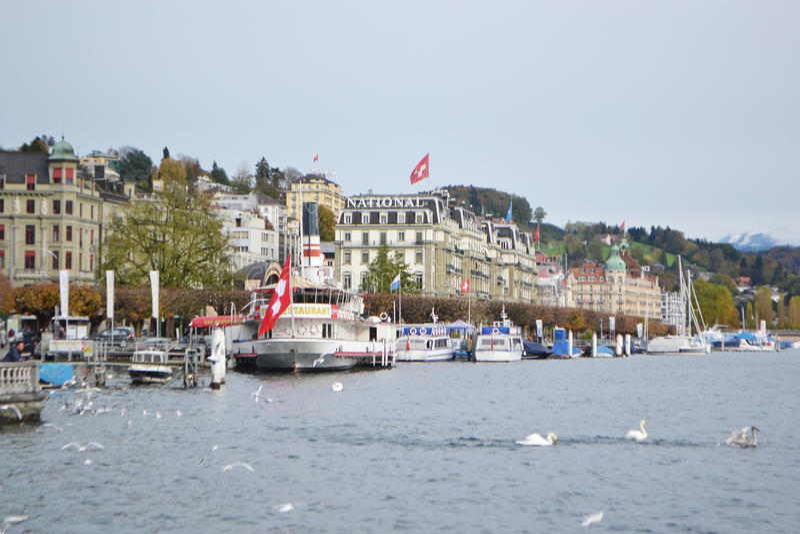 Cais na lucerna, Suíça. foto de stock royalty free