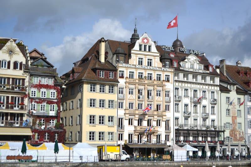 Cais na lucerna, Suíça. fotografia de stock royalty free