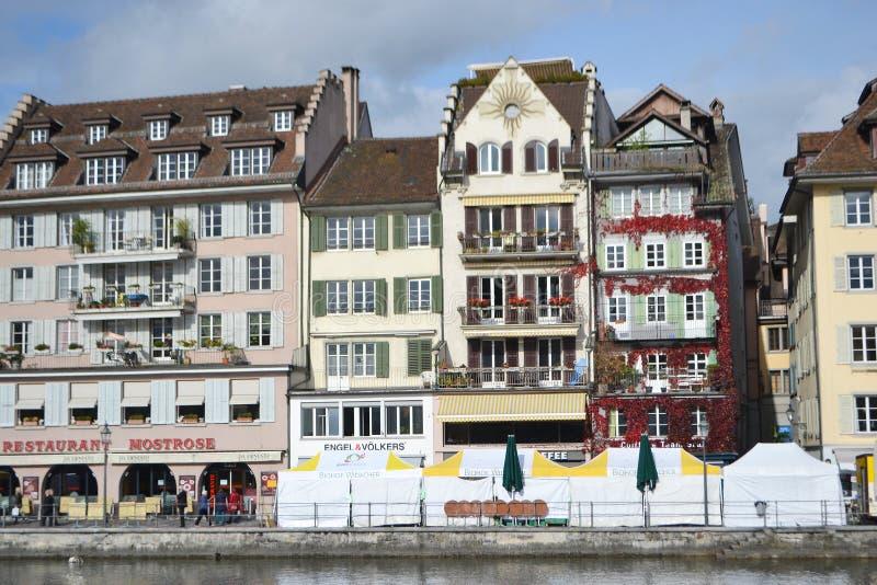 Cais na lucerna, Suíça. fotos de stock