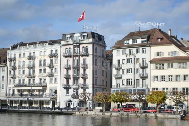 Cais na lucerna, Suíça. imagem de stock