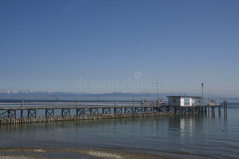 Cais no lago Constance imagem de stock