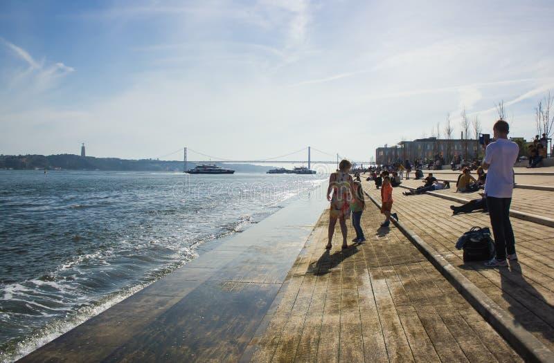 Cais Pier da of Ribeira in Lisboa, Portugal royalty free stock photos