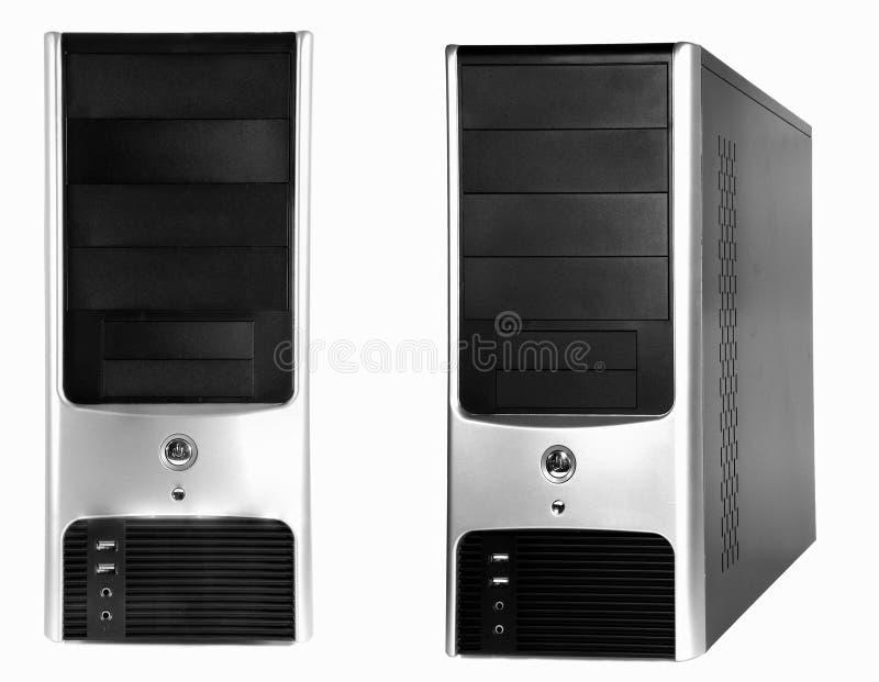 Caisse argentée noire d'ordinateur sur le fond blanc photographie stock libre de droits
