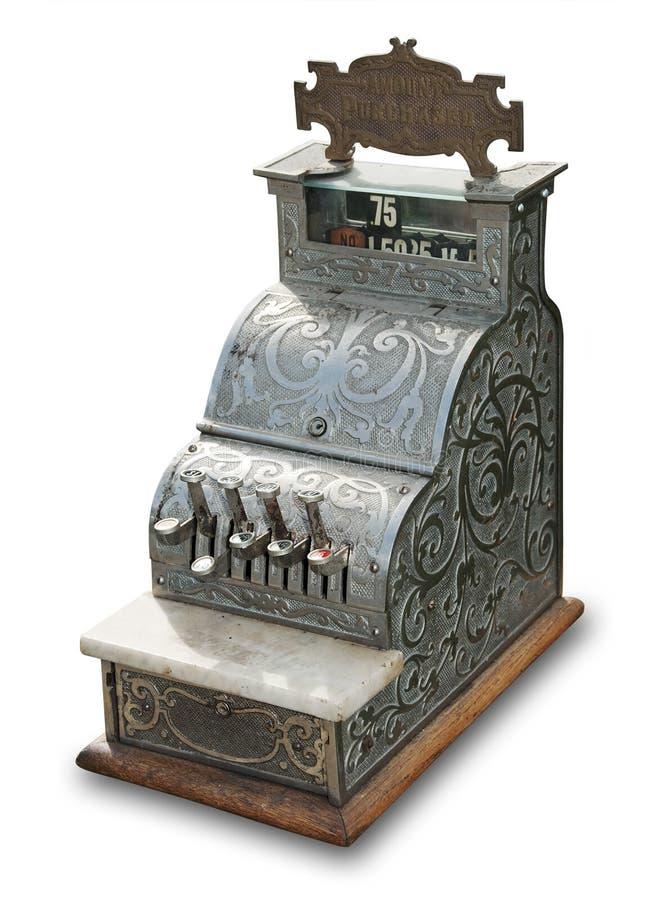 Caisse comptable antique, d'isolement photographie stock libre de droits
