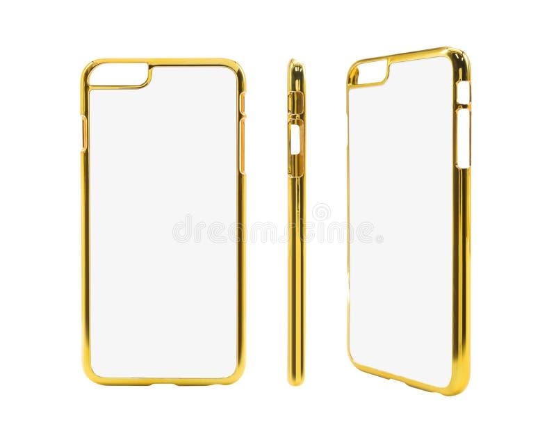 Caisse d'or de smartphone sur le fond d'isolement avec le chemin de coupure Faux mobile de protection de blanc pour le montage ou illustration libre de droits
