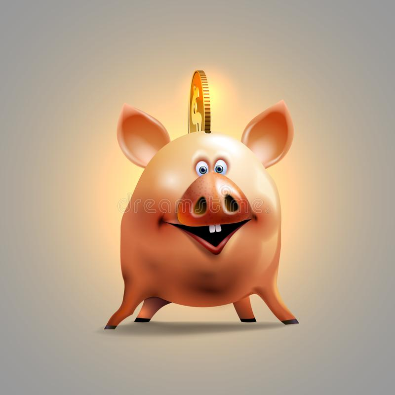 Caisse d'?pargne porcine heureuse Tirelire gaie Conception d'ic?ne d'argent illustration stock