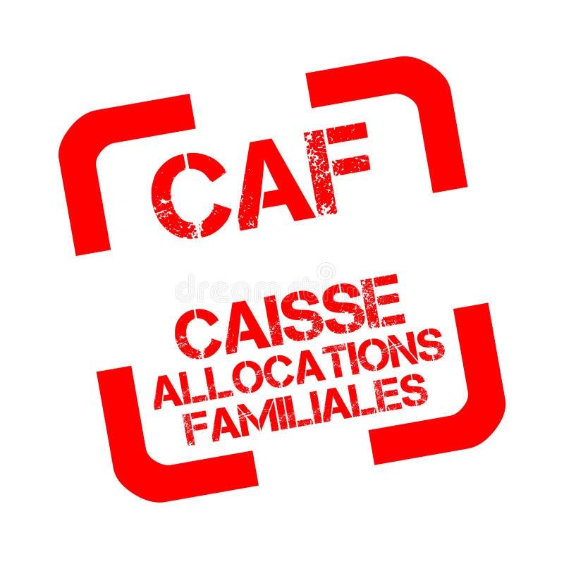Caisse d ` przydziałów CAF lub familiales są rodzinnym gałąź Francuska ubezpieczenie społeczne pieczątka w Francuskim ilustracja wektor