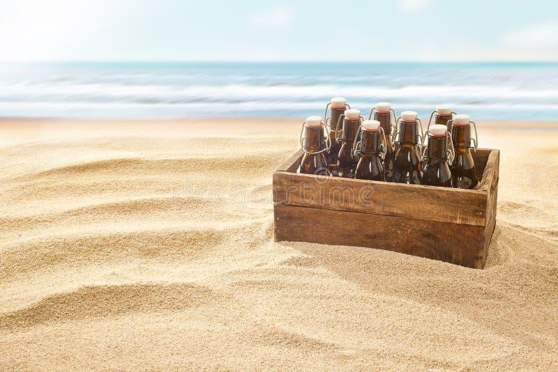 Caisse de bières sur une plage sablonneuse d'or image stock