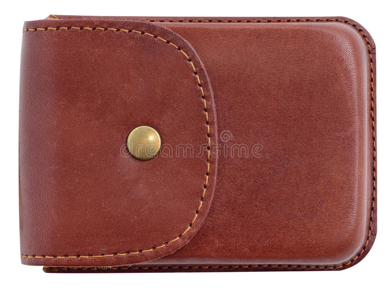 Caisse de luxe de support de carte de visite professionnelle de visite faite de cuir photographie stock libre de droits