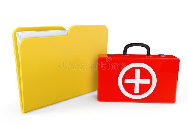 Caisse de premiers soins avec le dossier photographie stock libre de droits