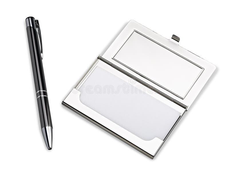 Caisse de support de carte de visite professionnelle de visite avec le stylo photos libres de droits