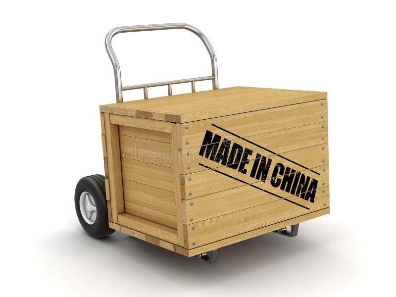 Caisse en bois avec fait dans le camion de la Chine en main Image avec le chemin de coupure illustration stock