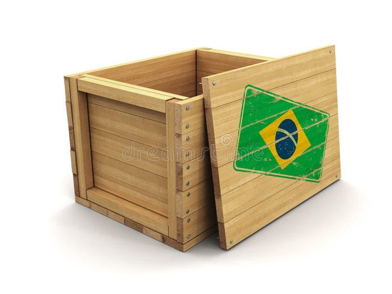 Caisse en bois avec le drapeau brésilien de timbre Image avec le chemin de coupure illustration stock