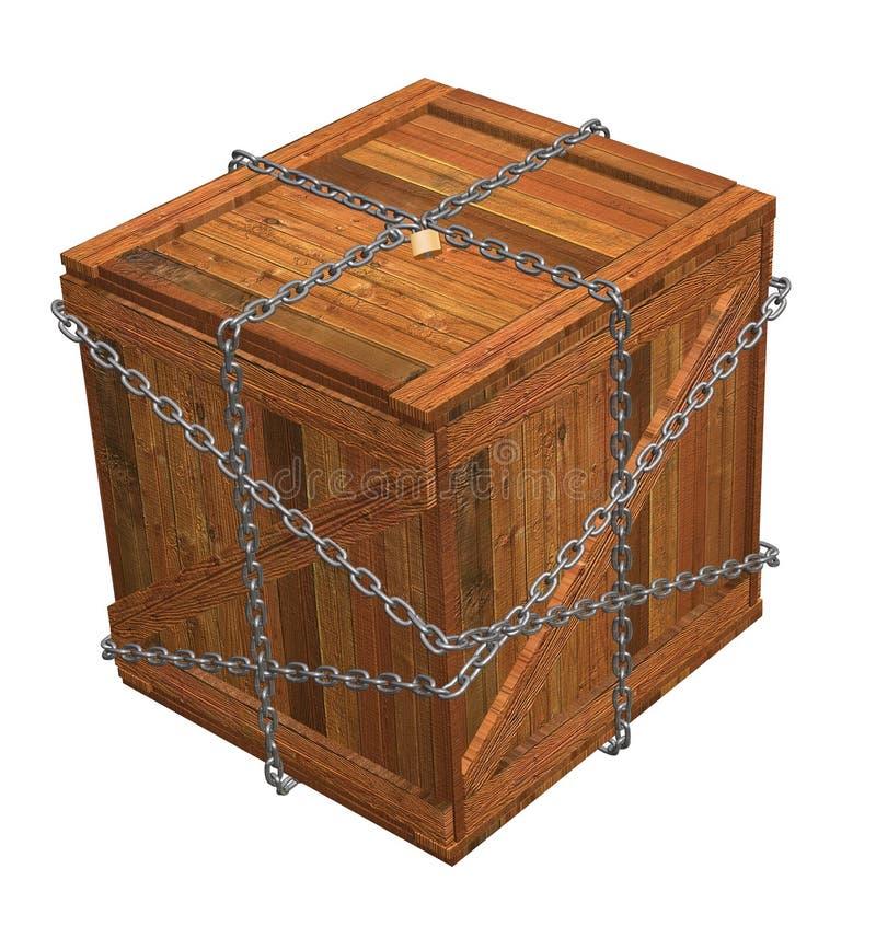 Caisse en bois verrouillée illustration libre de droits