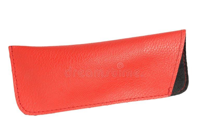 Caisse en cuir rouge vide pour des verres d'isolement sur le plan rapproché blanc de fond images stock