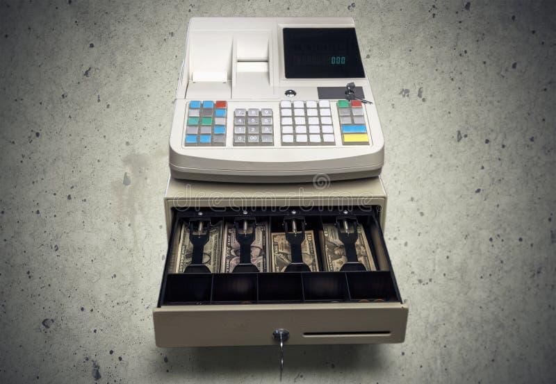 Caisse enregistreuse avec l'affichage d'affichage à cristaux liquides sur le béton photographie stock libre de droits