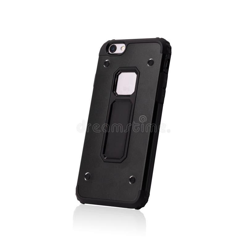 Caisse noire de smartphone d'isolement sur le fond blanc Couverture mobile forte pour antichoc Chemins de coupure ou couper l'obj illustration stock