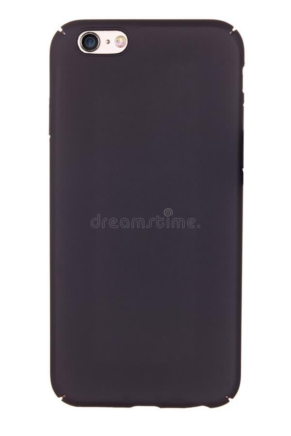 Caisse noire de téléphone sur un fond blanc photos stock