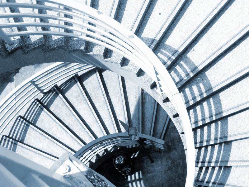 Caisse spiralée d'escalier photographie stock
