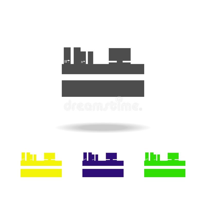 caisses d'emballage aux icônes multicolores de billetterie Signes et icône de collection de symboles pour des sites Web, concepti illustration de vecteur