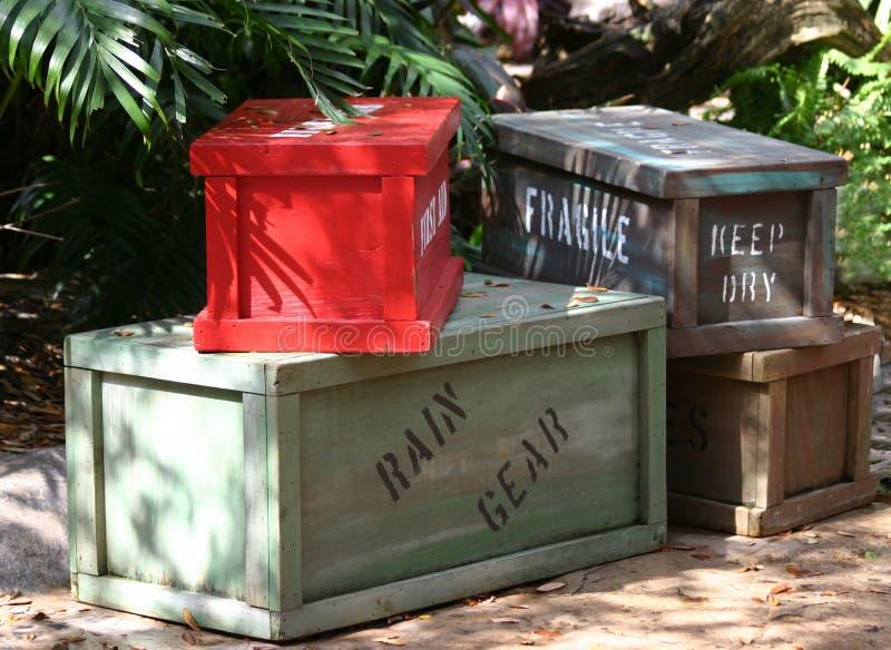 Caisses en bois de cargaison photographie stock libre de droits