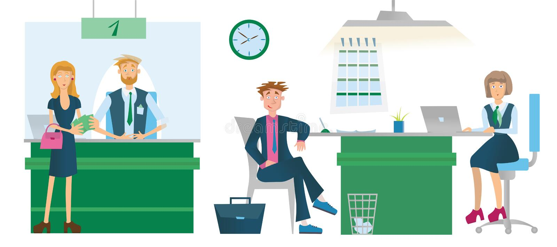 Caissiers ou conseillers et clients financiers de banque Illustration de vecteur, d'isolement sur le fond blanc illustration de vecteur